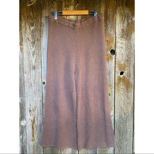 FREE PEOPLE BEACH brown knit wide leg pants M